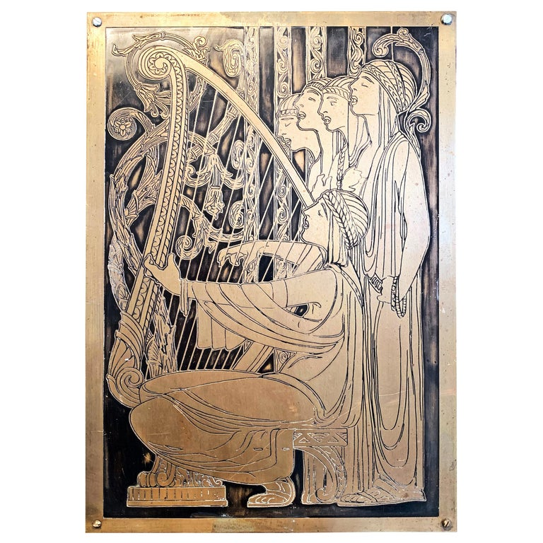 """""""Medieval Choir,"""" Art Deco Scene of Harpist and Choir, Incised Bronze Panel For Sale"""