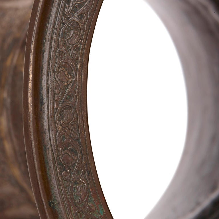 Medieval Egyptian Mamluk Brass Tray Stand with Silver Inlay For Sale 2