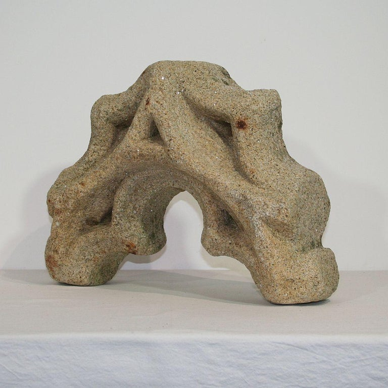 Hand-Carved Medieval Gothic French Carved Stone Architectural Fragment For Sale