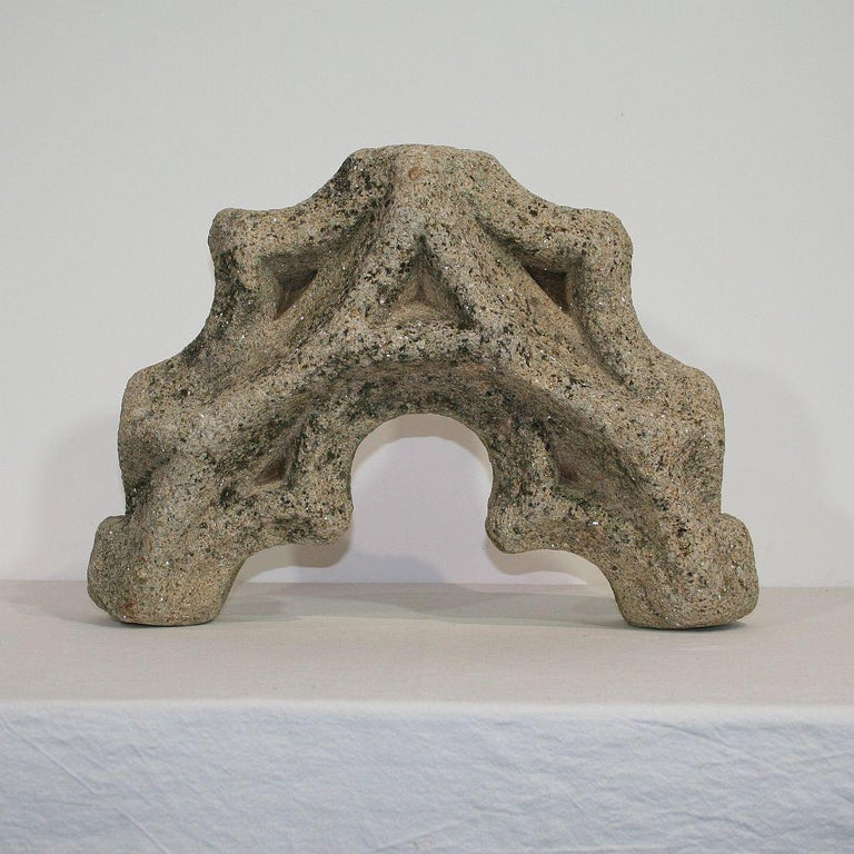 18th Century and Earlier Medieval Gothic French Carved Stone Architectural Fragment For Sale
