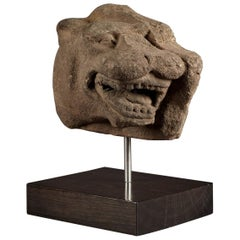 Medieval Gritstone Head of a Leopard, Staffordshire, circa 1450-1460