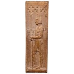 """Medieval Knight,"" Striking Art Deco Bas Relief Sculpture by Boston Artist"
