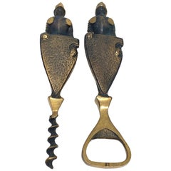 Medieval Knigt Corkscrew and Bottle Opener Set, Mid-Century Modern 1950s German