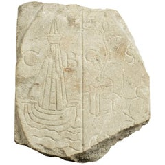 Medieval Limestone Commemorative Stone Marker, English, circa 1450-1550