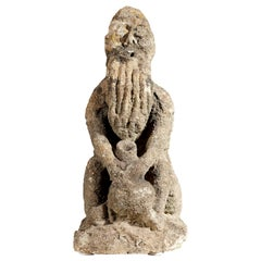 Medieval Limestone Drinking Man, English, circa 1400-1450