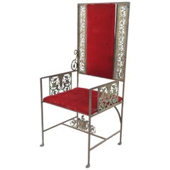 Medieval Revival Wrought Iron, Bronze, and Velvet Armchair, Manner of Oscar Bach