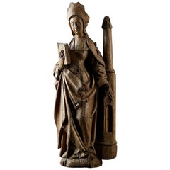 Medieval Sculpture of Saint Barbara, Early 16th Century, North of France