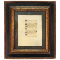 Medieval Style Illuminated Framed Latin Manuscript Page