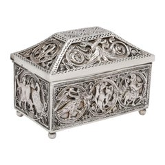 Medieval-Style Sterling Silver '.950' Footed Jewelry Box with Hinged Lid, Paris