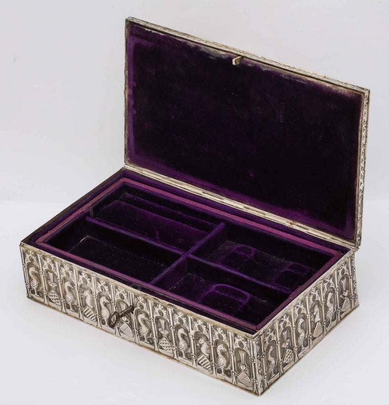 Medieval Style Continental Silver Jewelry Box For Sale 4