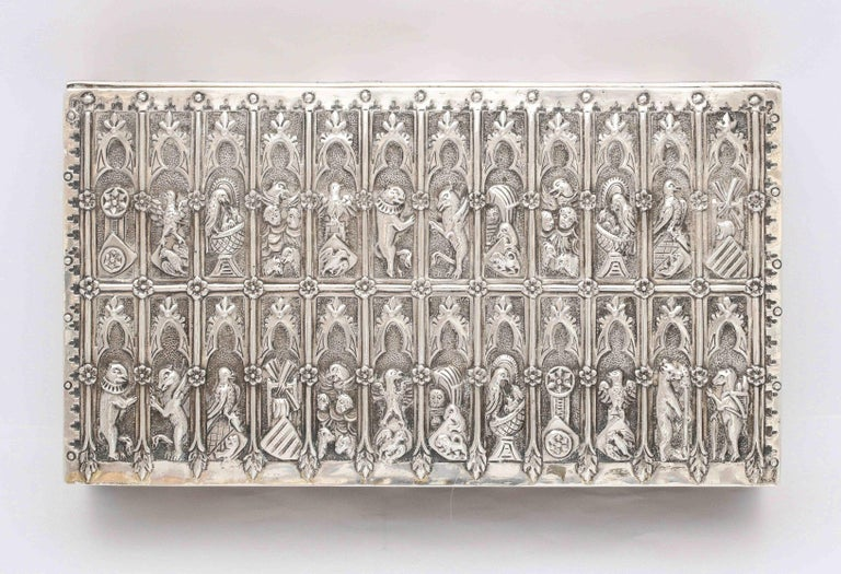 Medieval Style Continental Silver Jewelry Box For Sale 6