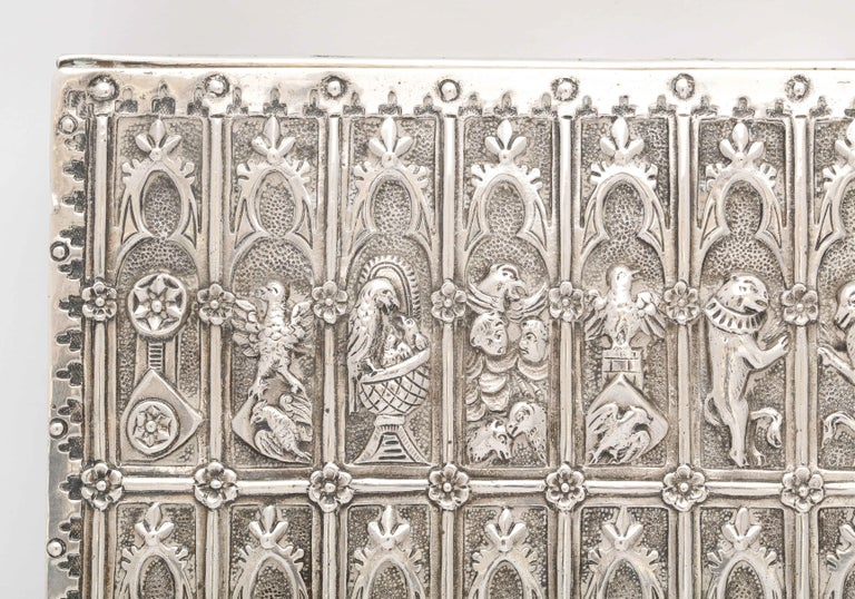 Medieval Style Continental Silver Jewelry Box For Sale 8
