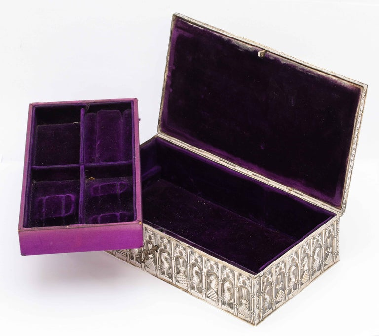 Medieval Style Continental Silver Jewelry Box For Sale 9