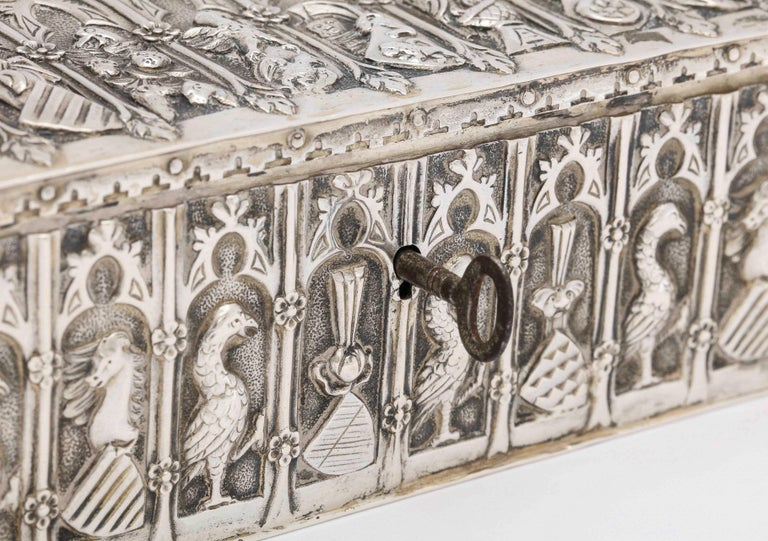 Early 20th Century Medieval Style Continental Silver Jewelry Box For Sale