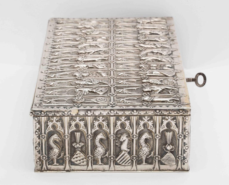 Sterling Silver Medieval Style Continental Silver Jewelry Box For Sale