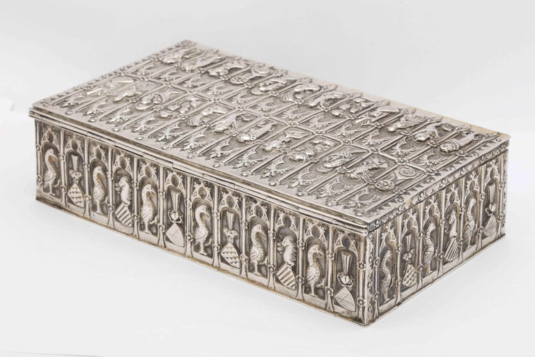 Medieval Style Continental Silver Jewelry Box For Sale 1