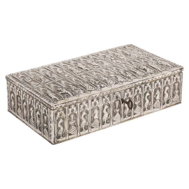 Medieval Style Continental Silver Jewelry Box For Sale