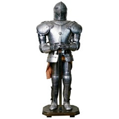 Medieval Style Suit of Fully Articulating Armor with Sword on Display Stand