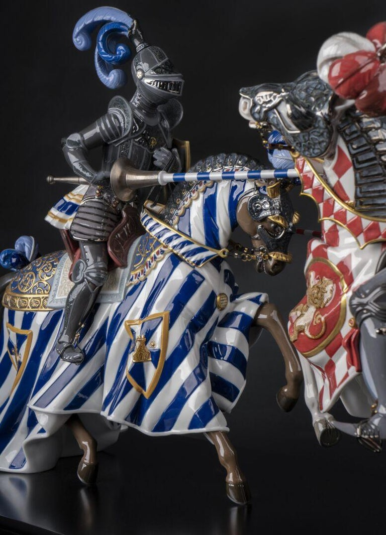 Honor and loyalty are the supreme values of medieval knights, the heroes of a fascinating, romantic era that inspired this spectacular high porcelain limited edition. The ornamental wealth of the heraldic emblems of knights and their sumptuous armor