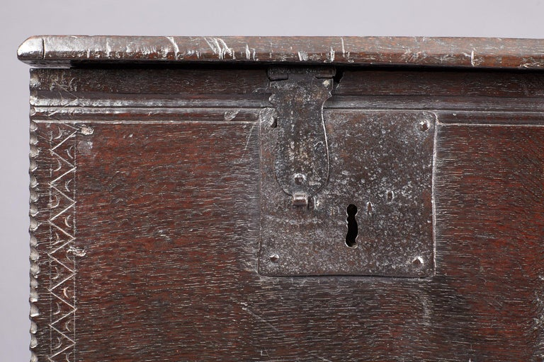 British Medieval, Tudor Oak Boarded Chest, Henry VII / VIII, English, circa 1480-1530 For Sale