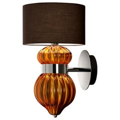 Medina 5683 Wall Sconce in Glass with Brown Shade by, Barovier&Toso