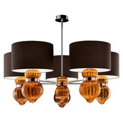 Medina 5684 05 Suspension Lamp in Glass with Brown Shade by, Barovier & Toso