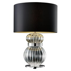 Medina 5686 Table Lamp in Glass with Black/Gold Shade by, Barovier&Toso