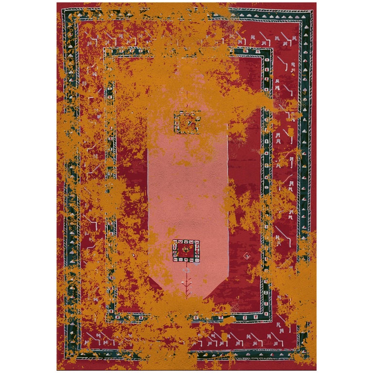 Medina Rug in Hand Knotted Wool and Botanical Silk For Sale