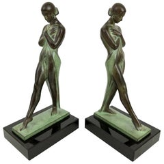 Meditation by Fayral Original Max Le Verrier Art Deco Style Bookends