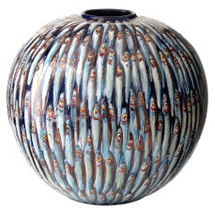 Mediterranea Ceramic Moon Jar Hand Painted Glazed Earthenware Italy 21st Century