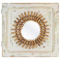 Mediterranean 1960s Bamboo Sunburst Mirror Wall Decoration, Spain, 1960s