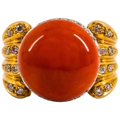 Mediterranean Coral 0.80 Carat White Diamond Emerald Yellow Gold Cocktail Ring