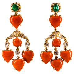 Mediterranean Coral 1.50 Carat White Diamond Emerald Yellow Gold Drop Earrings