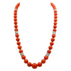 Mediterranean Coral and Diamond Graduated Bead Necklace