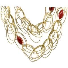Mediterranean Coral Multi Loop Ladies Necklace 18 Karat in Stock
