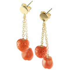 Mediterranean Coral Strawberry Apple 18 Karat Gold Chain Drop Cocktail Earrings