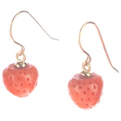 Mediterranean Coral Strawberry Apple 18 Karat Gold Drop Cocktail Chic Earrings