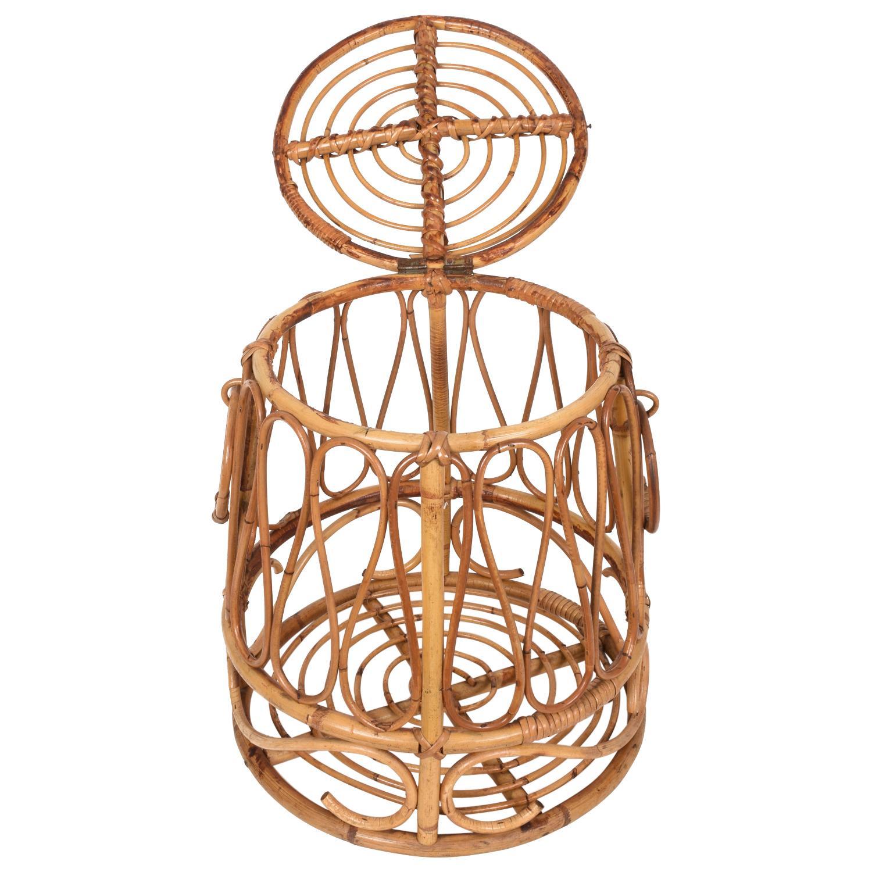 Mediterranean Midcentury Bamboo and Rattan Round Decorative Basket, Italy, 1950s