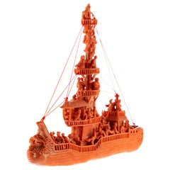 Mediterranean Precious Red Coral Natural Ship Carved Branch Statue Sculpture