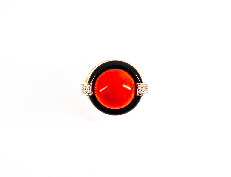 Art Deco Mediterranean Red Coral 0.10 Carat White Diamond Onyx Yellow Gold Cocktail Ring For Sale