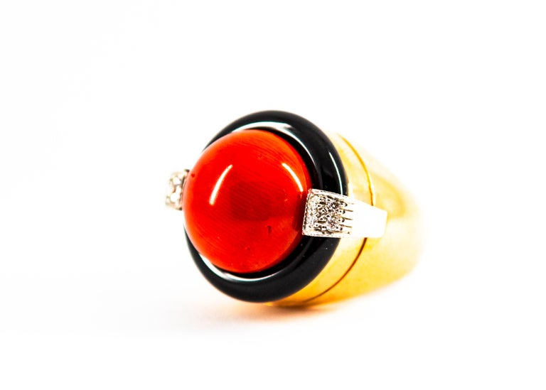 Women's or Men's Mediterranean Red Coral 0.10 Carat White Diamond Onyx Yellow Gold Cocktail Ring For Sale