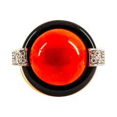 Mediterranean Red Coral 0.10 Carat White Diamond Onyx Yellow Gold Cocktail Ring