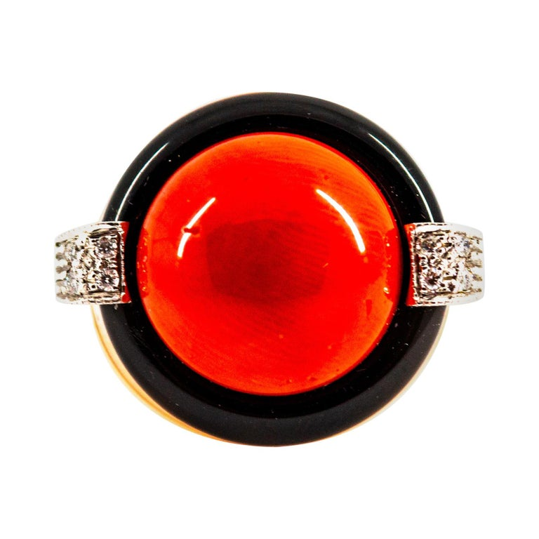 Mediterranean Red Coral 0.10 Carat White Diamond Onyx Yellow Gold Cocktail Ring For Sale