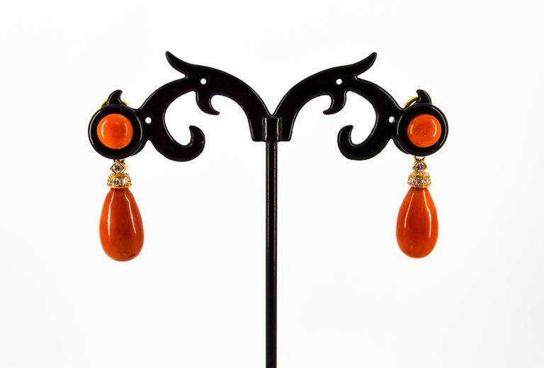 Mediterranean Red Coral 0.18 Carat White Diamond Onyx Yellow Gold Drop Earrings For Sale 1