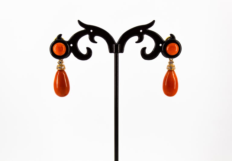 Mediterranean Red Coral 0.18 Carat White Diamond Onyx Yellow Gold Drop Earrings For Sale 2