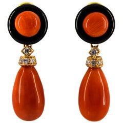 Mediterranean Red Coral 0.18 Carat White Diamond Onyx Yellow Gold Drop Earrings