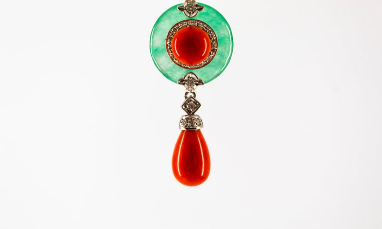 Mediterranean Red Coral 0.32 Carat White Diamond Jade White Gold Pendant For Sale 5