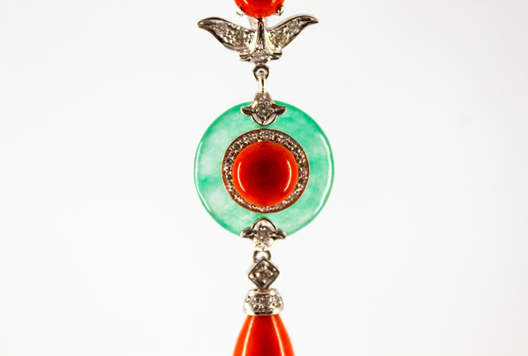 Mediterranean Red Coral 0.32 Carat White Diamond Jade White Gold Pendant For Sale 6