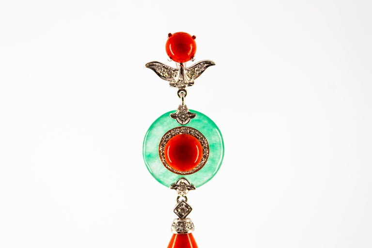 Mediterranean Red Coral 0.32 Carat White Diamond Jade White Gold Pendant For Sale 4