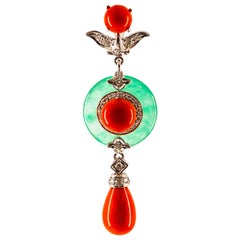 Mediterranean Red Coral 0.32 Carat White Diamond Jade White Gold Pendant